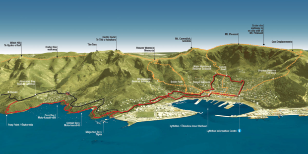 Hiking tracks from Lyttelton Township