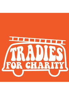 orange background with truck outline saying tradies for charity