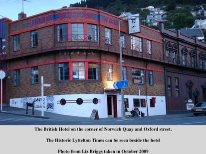 2009 image of the British Hotel and the historic Lyttelton Times Building