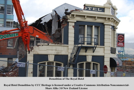 Demolition of the Royal Hotel post-earthquakes
