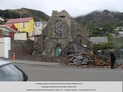 Photo shows the damage done to St John's Church after the February earthquake in 2011