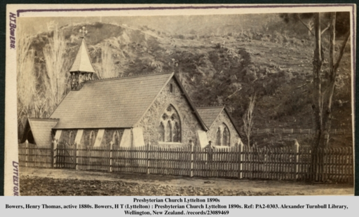 Image shows historic Presbyterian Church Lyttelton in the 1890s