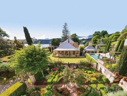 ohinetahi house and garden facing toward Lyttelton Harbour