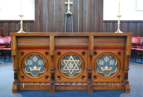 image of wooden church alter lyttelton holy trinity