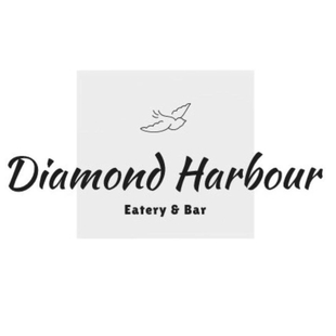 Black writing Diamond Harbour eatery and bar with a bird