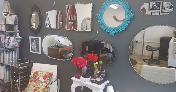 mirrors on wall at Hairport Lounge Lyttelton