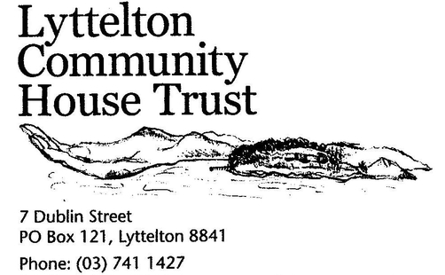 lyttelton community house details in balck writing with an image of the port hills