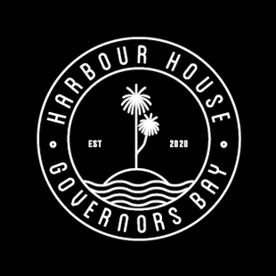 black background with white circle saying Harbour house, Governors bay with a nikau palm in the centre