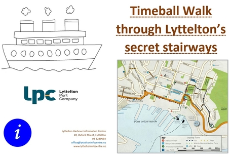 drawing of boat on left and map of Lyttelton timeball walk on right
