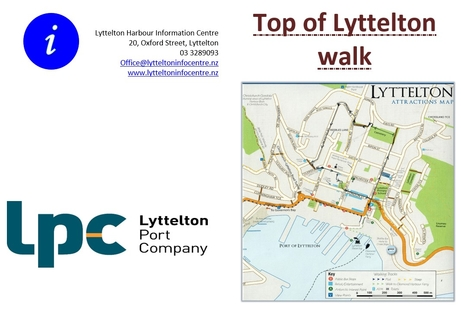 address of Lyttelton information centre on left and map with walk route of Lyttelton