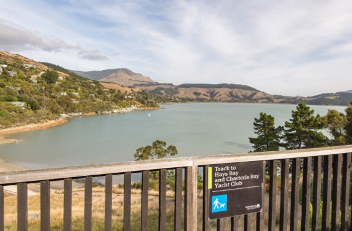 View of the sea and Lyttelton harbour head from Church bay