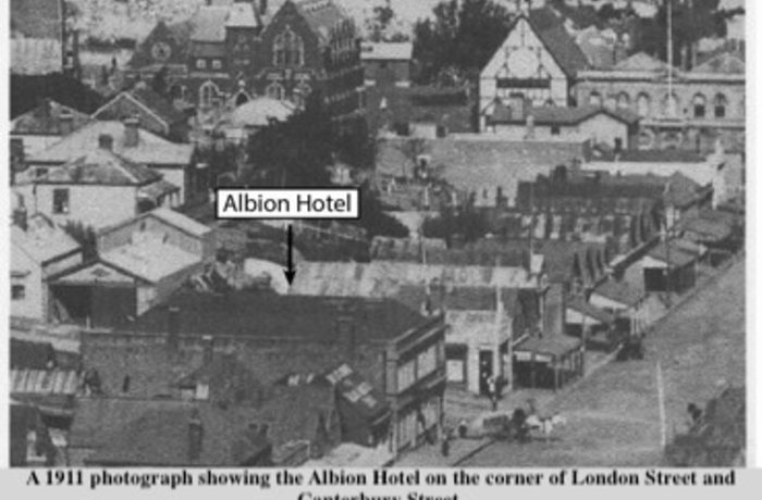Image shows the location of the historic Albion Hotel in 1911