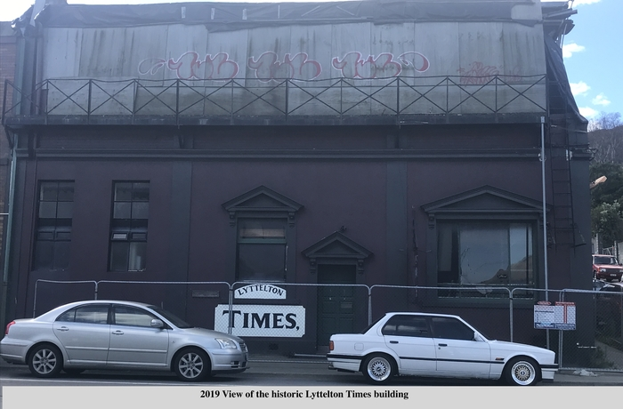 Photo shows the exterior of the Lyttelton Times Building in 2019