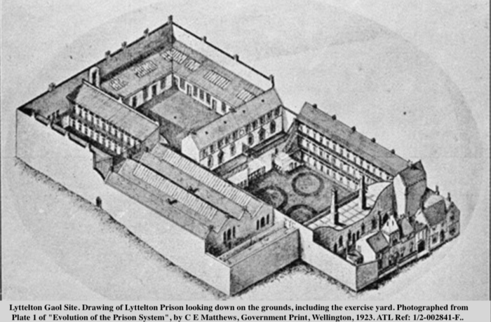 Drawing of Lyttelton Prison looking down on the grounds, including the exercise yard. Alexander Turnbull Library, Wellington
