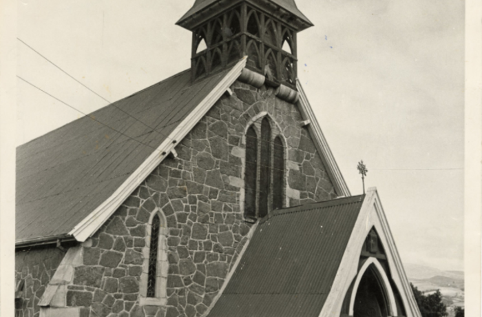 Photo of the exterior of the Holy Trinity church in the 1970s