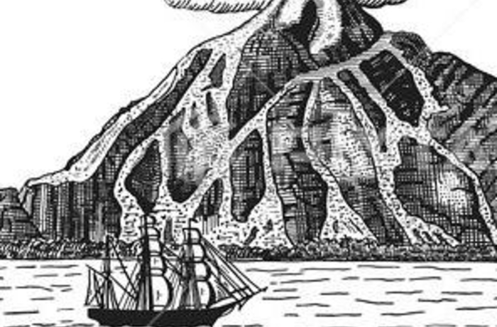 black and white volcano drawing with a boat in front of it