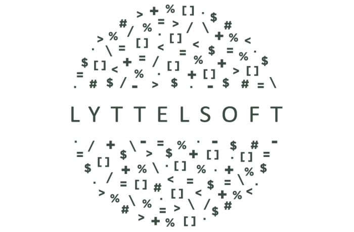 Lyttelsoft across the centre of a circle filled with mathmatical symbols