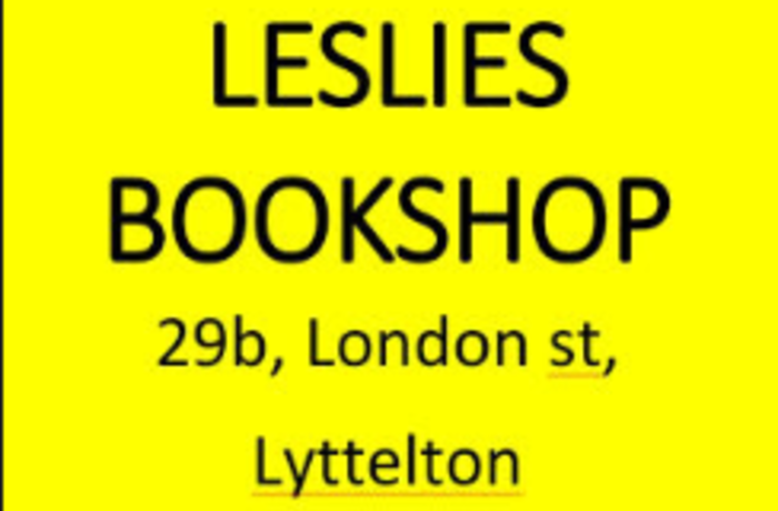 yellow square with Leslies bookshop Lyttelton written in black