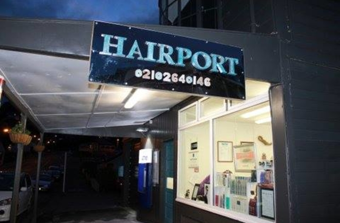 image of sign outside Hairport in Lyttelton