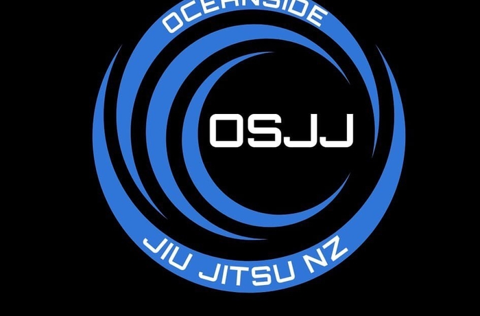 black square with blue lines creating a circle and Oceanside jiu jitsu in white